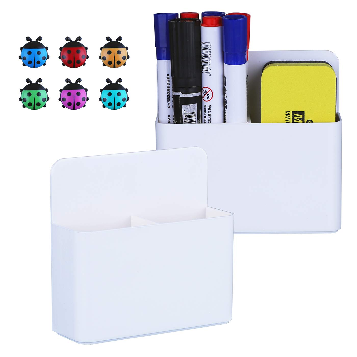 Antner 2 Pack Magnetic Dry Erase Marker Holders with Magnetic Push Pins, Dry Erase and Pen Storage Organizers for Whiteboard, Refrigerator, Metal Locker and Cabinets