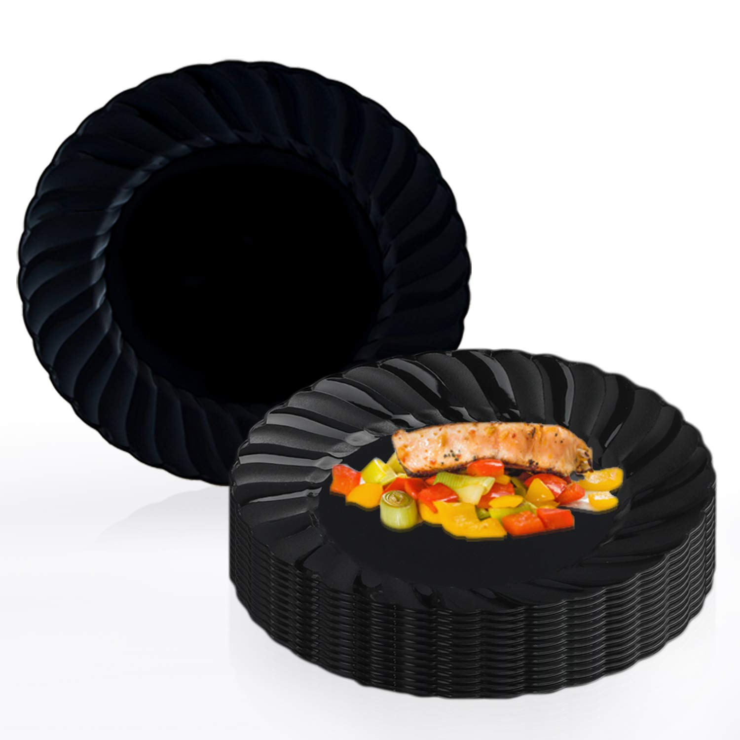 """Elegant Disposable Plastic Dessert Plates 180 Pcs - 7.5"""" Heavy Duty Flared Black Salad Plates - Reusable Fancy Appetizer Cake Plates - Bulk Party Supplies For Wedding, Easter, Birthday & All Occasions"""