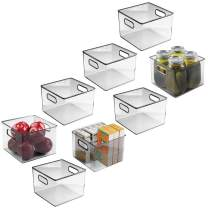mDesign Plastic Food Storage Container Bin with Handles - for Kitchen, Pantry, Cabinet, Fridge/Freezer - Cube Organizer for Snacks, Produce, Vegetables, Pasta - BPA Free - 8 Pack, Clear
