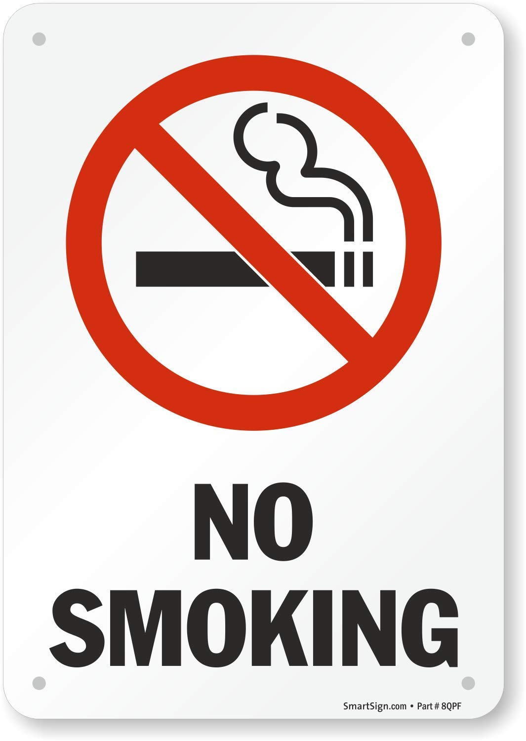 """SmartSign Aluminum Sign, Legend """"No Smoking"""" with Graphic, 10"""" high x 7"""" wide, Black/Red on White"""