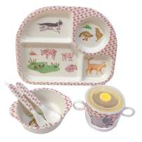 Shopwithgreen 5Pcs/Set Bamboo Fiber Children Board Food Plate Bowl Cup Spoon Fork Set Dishware Cartoon Tableware Dishwasher Safe Kids Healthy Mealtime (Poultry)