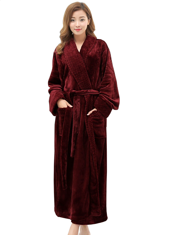 Long Robes for Women Plush Soft Fleece Bathrobe Full Length Sleepwear Dressing Gown