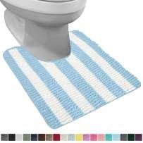 Gorilla Grip Original Shaggy Chenille Oval U-Shape Contoured Mat for Base of Toilet, 22.5x19.5 Size, Machine Wash and Dry, Soft Plush Absorbent Contour Carpet Mats for Bathroom Toilets, Sky Blue White