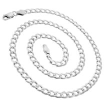 925 Italian Sterling Silver 2.5mm - 10.5mm Solid Cuban Diamond Cut Chain, FREE Microfiber Cloth, ITProLux Curb Link Pave Necklace, Giorgio Bergamo