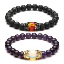 Top Plaza King&Queen Crown Distance Couple Bracelets His and Her Relationship Friendship Bracelet Mens Womens Gemstone Beads Stretch Bracelets
