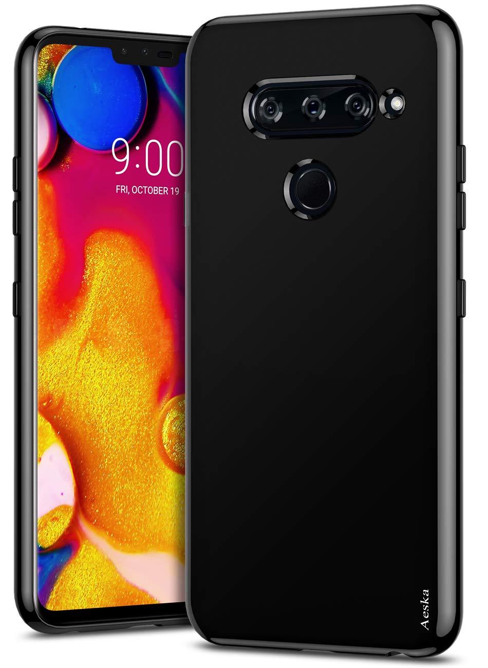 Aeska LG V40 ThinQ Case, LG V40 Case, Ultra [Slim Thin] Flexible TPU Gel Rubber Soft Skin Silicone Protective Case Cover for LG V40 ThinQ/LG V40 (Black)