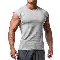 Mens Muscle Cut T-Shirt Short Sleeve for Bodybuilding Gym Workout Tee Tops Cotton