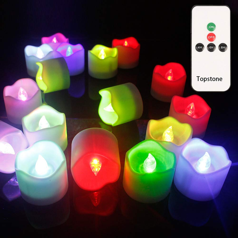 Topstone Remote Control Tea Lights,Battery Powered Votive Candles with Timer,Color Changing Flickering Lights in Wave Open Style,for Wedding,Christmas Decoration,Pack of 12 (Wave Open Style)