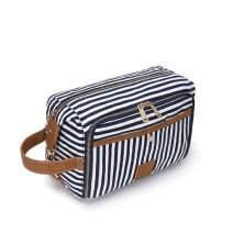Plambag Travel Toiletry Bag Water-repellent Canvas Makeup Dopp Kit Shaving Bag Organizer(Blue Stripe)