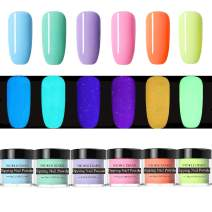 NICOLE DIARY 6 Boxes Luminous Dipping Nail Powder Kit Fluorescent Effect Acrylic Glitter Nail Dip Nail Powder Without Lamp Cure Natural Dry Christmas Nail Art Decoration