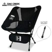Oak Creek Lightweight Collapsible Chair for Camping, Backpacking, and More. Features Sturdy Aluminum Frame, Extendable Legs, and Carrying Bag. Folds Down to 14 x 5 x 5 Inches and Weighs 2 Pounds