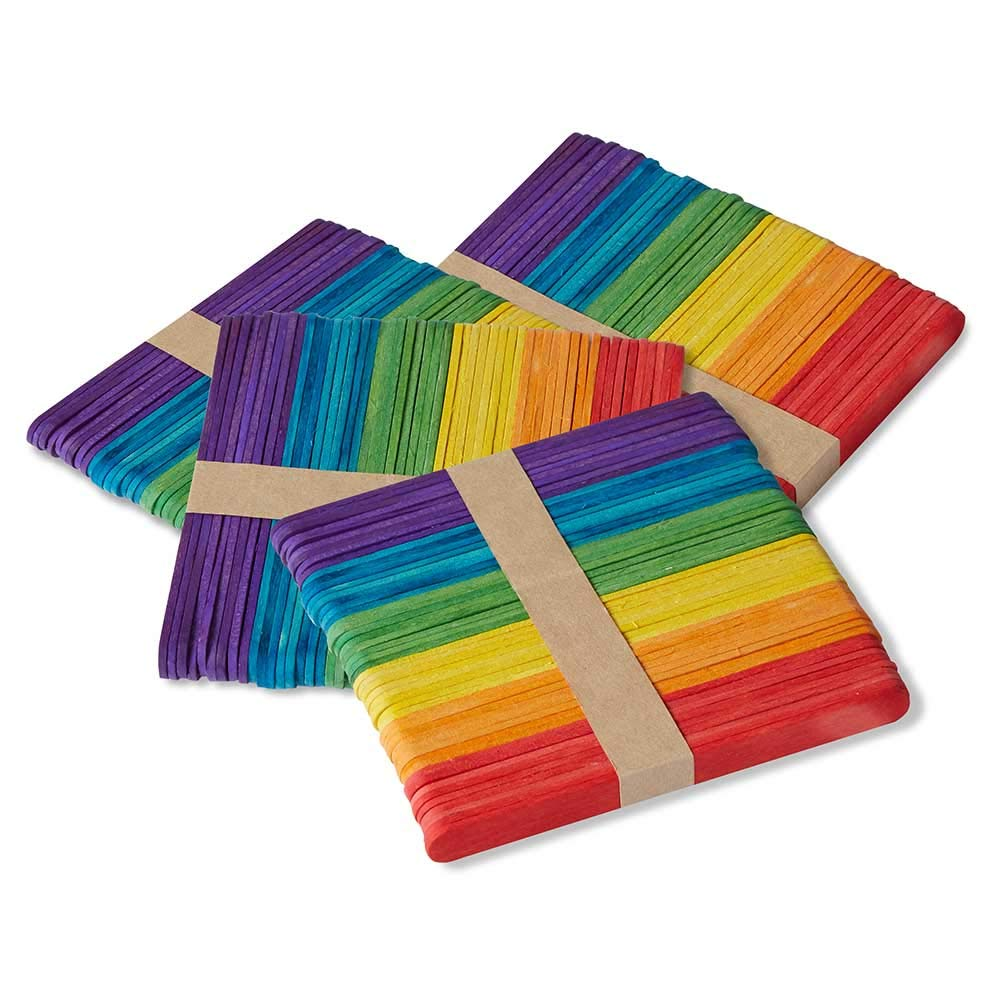 hand2mind Vibrant Rainbow Color Wood Craft Sticks with Rounded Ends, DIY Arts and Crafts, Home Art Projects, Classroom Art Supplies, Homeschool Supplies, 4-1/2 x 3/8 Inch (Pack of 200)