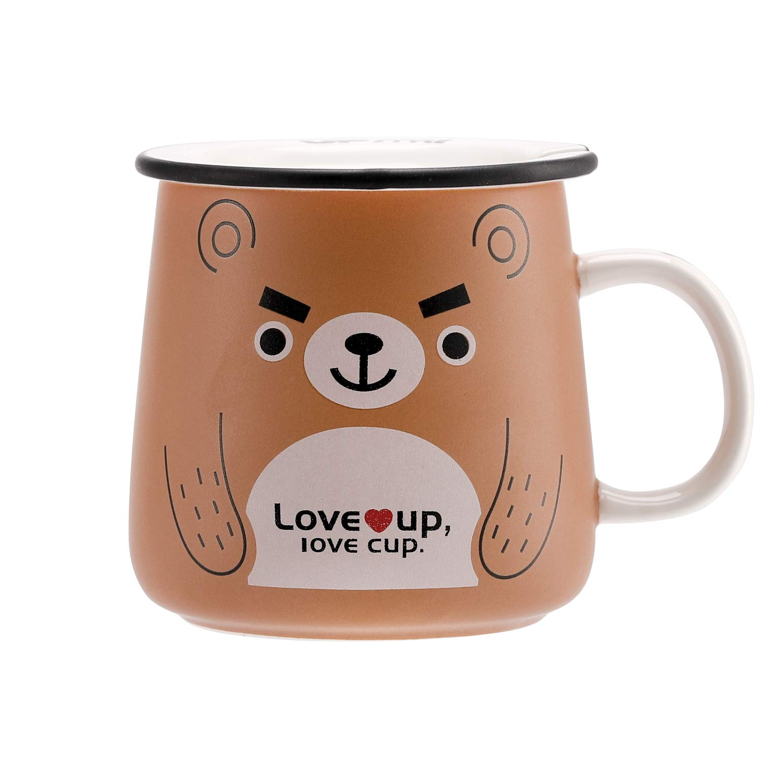 Upstyle Novelty Ceramic Coffee Mug Cute Funny Cartoon Animals Tumbler The Office Travel Tea Cup To Go With Lid And Spoon For Men And Wonmen 11oz 320ml Bear