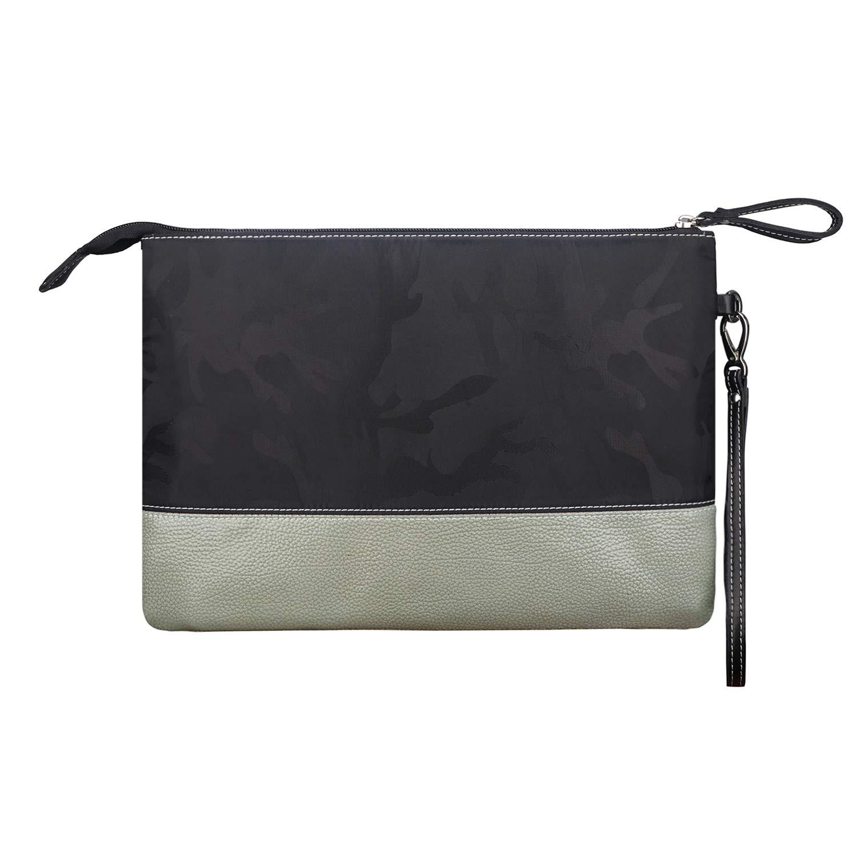 BIGHAS Men's Clutch Bag Handbag Briefcase US Letter Large Size, Long Wrist Strap Nylon Genuine Leather Business Daily Commuting Zipper 2 Color (Black Camo+Bright Light Gray)