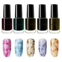 NICOLE DIARY Blossom Nail Polish Watercolor Marble Nail Ink Nail Gel Red Purple Blue Nail Art Varnish DIY Design(6ml, 5 colors)