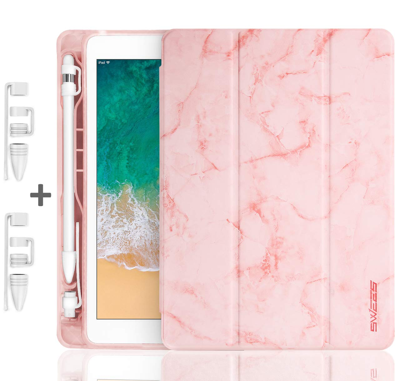 SWEES Compatible with iPad 9.7 2018/2017 Case with Pencil Holder, Shockproof Leather Smart Cover Auto Sleep/Wake with Pencil Cap Holder Compatible for iPad 9.7 inch 6th/5th Generation, Pink Marble