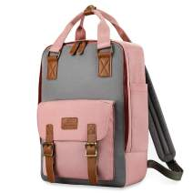 "Plambag 15.6"" Laptop Travel Backpack, Water-repellent Casual Rucksack Daypack(Pink w/Gray)"