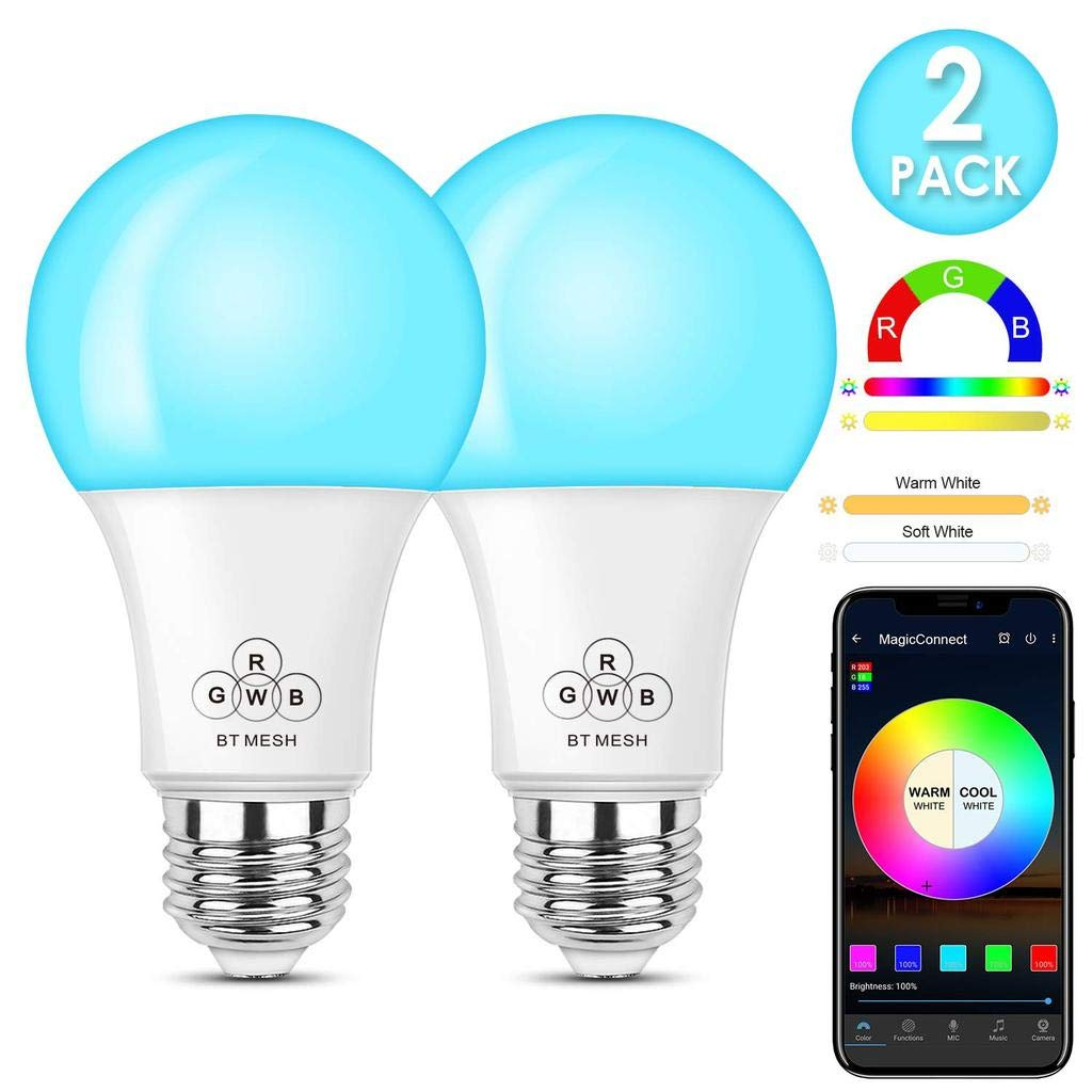 Bluetooth Smart Light Bulb, HaoDeng Smartphone App Control, A19 E26 4.5w (40w Equivalent) Multicolor White Dimmable Light Bulb (2Pack)