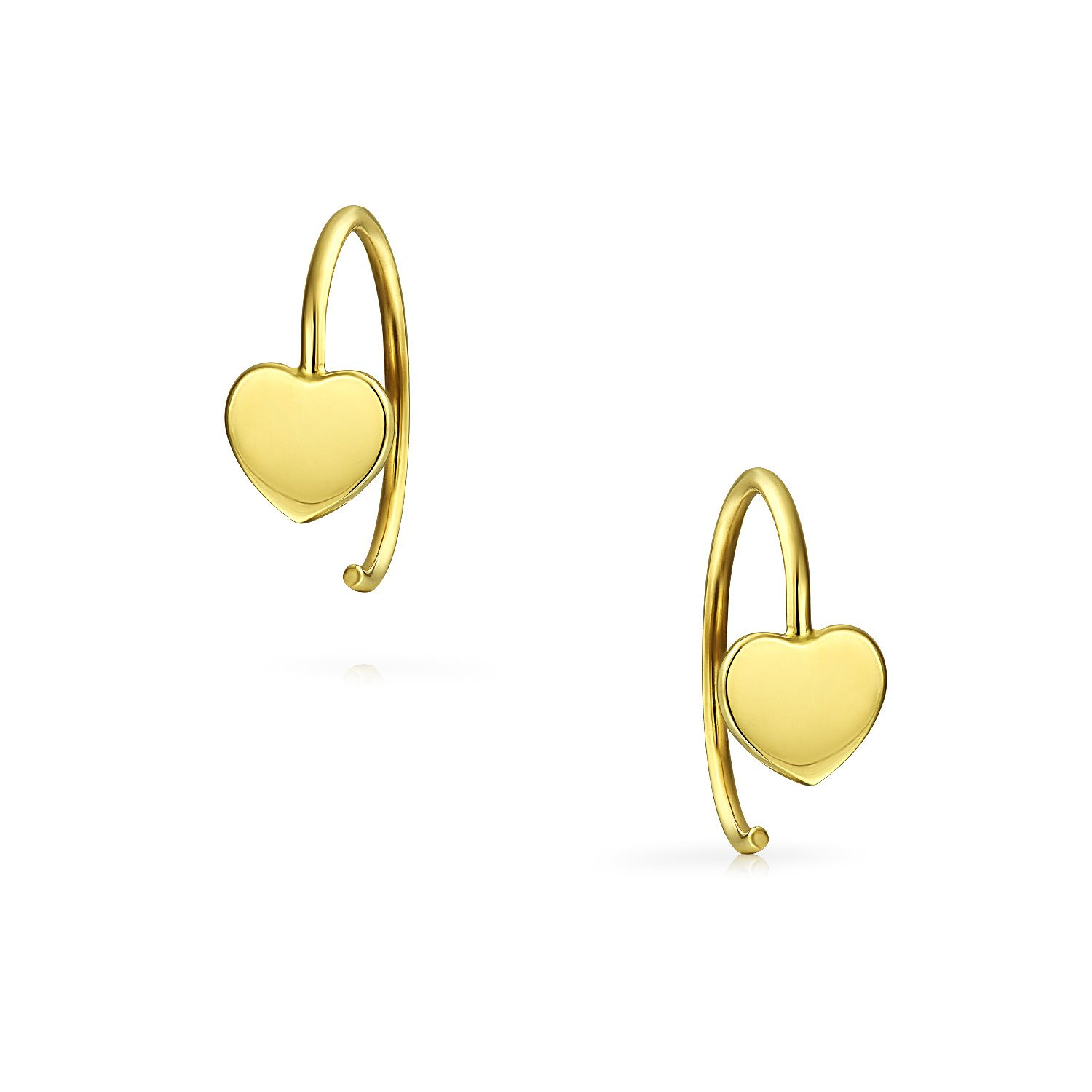 Tiny Minimalist Heart Shaped Threader Earrings For Women For Teen For Girlfriend 14K Yellow Real Gold Personalize