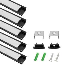 LightingWill 5-Pack 3.3ft/1M 9x23mm Black U-Shape Internal Width 12mm LED Aluminum Channel System with Cover, End Caps and Mounting Clips Aluminum Extrusion for LED Strip Light Installations-U01B5