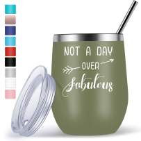 Funny Birthday Wine Present for Women Friends, 12oz Wine Tumbler with Funny Sayings Not A Day Over Fabulous - Army