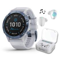 Garmin Fenix 6 Pro Solar Premium Multisport GPS Smartwatch with Included Wearable4U Ultimate White Earbuds with Charging Power Bank Case Bundle (Mineral Blue w/Whitestone)