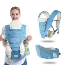 Ergonomic Baby Hip Seat Carrier Baby Waist Stool for Newborn Child Infant Toddler with Cool Air Mesh Windproof Babyhood Comfortable Insert (Blue)