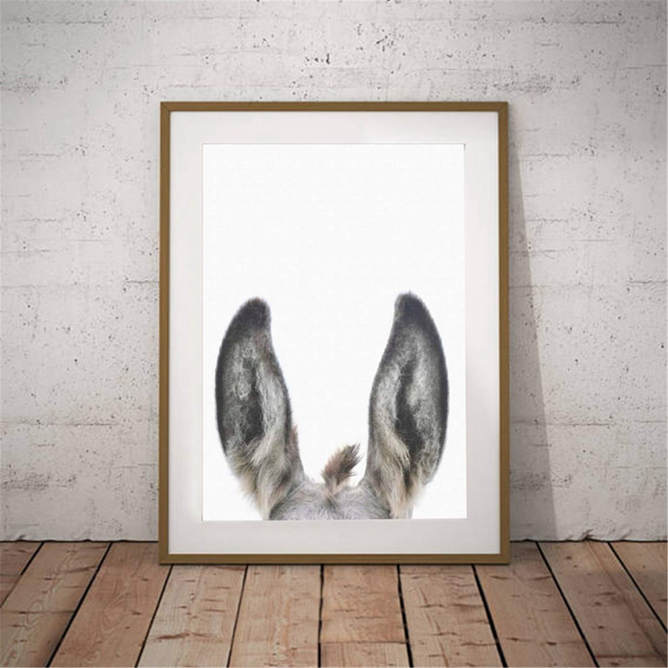 Canvas Wall Art Peekaboo Animal Donkey Ears Print Poster Painting Picture for Living Room Bedroom Home Decoration Artwork No Frame 24x32inch