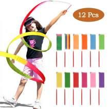 YANSHON 12 PCS Rainbow Ribbon Wands, Rhythmic Gymnastics Ribbon Dancing Streamers with Twirling Wands for Talent Shows, Artistic Dancing, Baton Twirling(12 Colors)