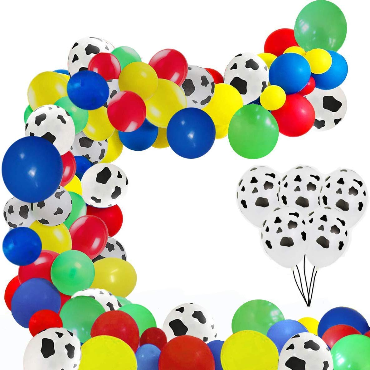 EVISWIY 120 PCS Toy Story Balloons Arch Garland Kit for Kids Birthday Party 1st 2nd 3rd 6th Baby Shower Ballons Decorations Supplies for Boy Girl 12 Inch Cow Pattern Printed /Red /Yellow/ Blue/ Green Latex Balloons