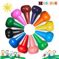 Richgv Finger Crayons for Kids Washable, Non-Toxic 12 Colors Toddler Crayons Stackable Toys for Boys and Girls