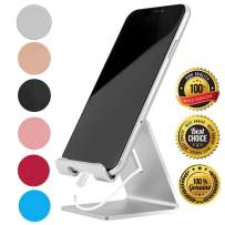 Desk Cell Phone Stand Holder Aluminum Phone Dock Cradle Compatible with Switch, All Android Smartphone, for iPhone 11 Pro Xs Xs Max Xr X 8 7 6 6s Plus 5 5s 5c Charging, Accessories Desk (Silver)