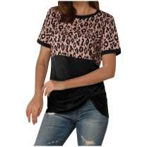 ZEFOTIM Women's Leopard Colorblock Striped Short Sleeve T-Shirt Round Neck Casual Top