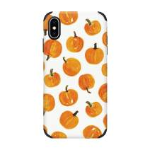 CUSTYPE iPhone Xs Max Case, Print Pumpkin Watercolor Pattern Design Phone Case, Ultra Slim Anti-Slip Shock-Absorption Bumper Cover Case Compatible with iPhone Xs Max 6.5-Inch Pumpkin