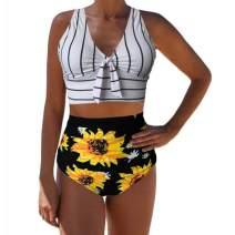 Sovelen Womens 2 Pieces Bowknot Shirre V Neck Bikini Sets Push Up Sunflower Print High Waist Bottom Swimsuits