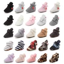 Sawimlgy Newborn Baby Cozy Fleece Booties for Boys Girls Infant Stay On Soft Shoes Crib Sock House Slipper Warm Shoe Winter Ankle Boots First Walker Cute Baby Stuff Shower Gift