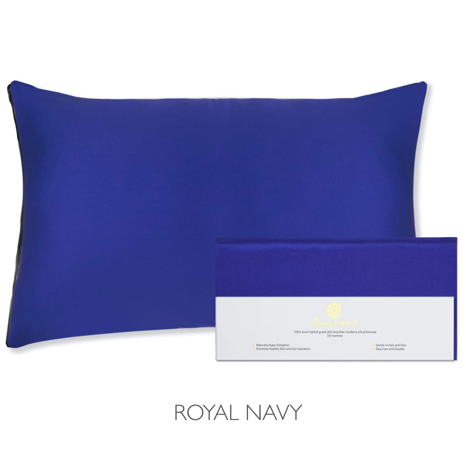 """Beauty of Orient 100% Pure Mulberry Silk Pillowcase for Hair and Skin, 19 Momme Both Sides, Hidden Zipper, Natural Hypoallergenic Silk Pillow Case - Best Sleep (1pc Standard - 20"""" x 26"""", Royal Navy)"""