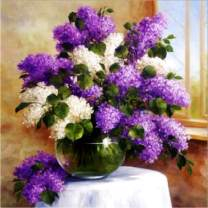 5D Diamond Painting Window Sill Lilacs and Flowers Full Drill by Number Kits, SKRYUIE DIY Rhinestone Pasted Paint with Diamond Set Arts Craft Decorations (12x12inch) a399