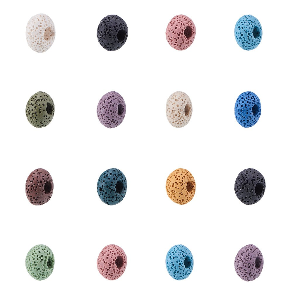 NBEADS 200 Pcs 15mm Random Mixed Color Lava Gemstone Beads, Large Hole European Beads Rondelle Loose Beads for Jewelry Making