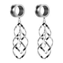 TBOSEN 2pcs Classic Double Linear Loops Design Twist Wave Dangling Ear Gauges for Women Girls