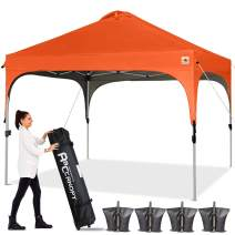 ABCCANOPY Canopy Tent 10x10 Pop Up Canopy Outdoor Canopies Super Comapct Canopy Portable Tent Popup Beach Canopy Shade Canopy Tent with Wheeled Carry Bag Bonus 4xWeight Bags,4xRopes&4xStakes