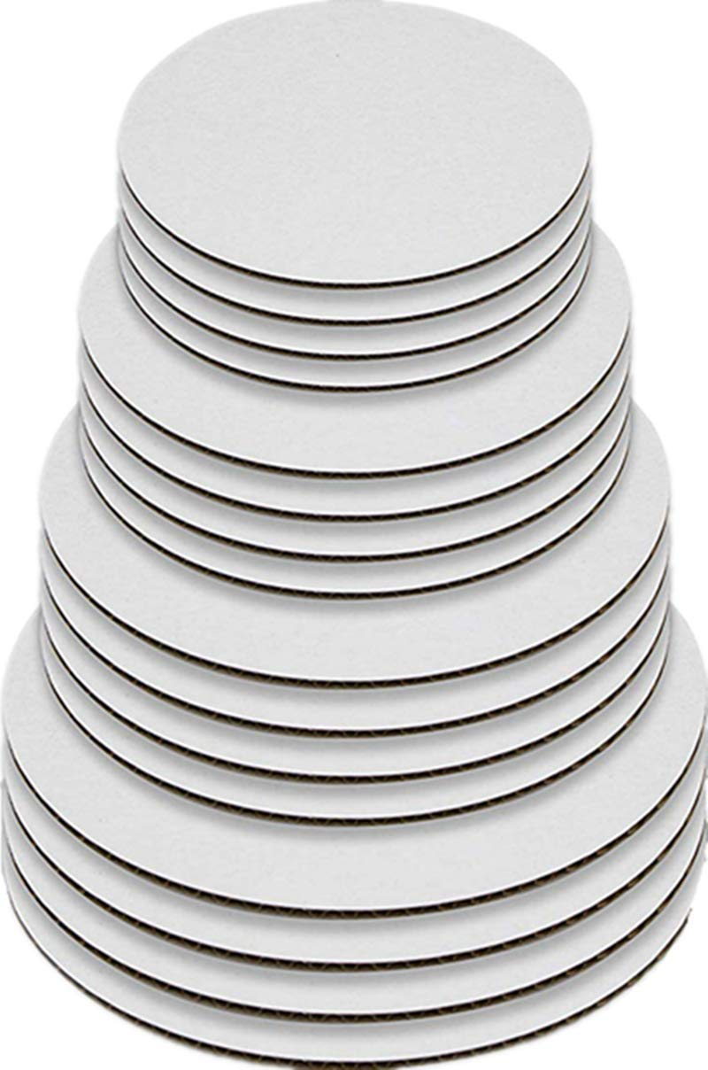 Greaseproof Round Cake Boards White Cake Circle Base - 6/8/10/12 inch 5 of Each Size