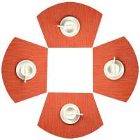SHACOS Round Table Placemats Set of 4 Wedge Placemats Heat Resistant Table Mats Wipe Clean (4, Orange)