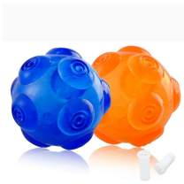 PERSUPER Dog Balls Toys Pet Toys Rubber Indestructible Dog Toy Ball Interactive Squeak Dog Toy Ball Training Playing, Blue and Orange for Small,Medium and Large Dogs