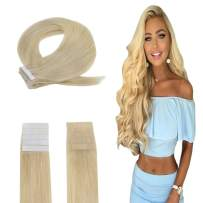 Easyouth Tape in Real Hair Remy Human Hair Extensions Solid Color #613 Bleach Blonde -18inches 40g per Set, Skin Weft Hair Extensions Easy to Style for Stylist Tape on Hair Extensions