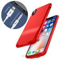Cocomii 3.5mm Headphone Jack & Lightning Port Audio iPhone Xs/iPhone X Case, Slim Thin Matte Aux Headphone Connector Adapter Charge & Listen Bumper Cover for iPhone Xs/X 5.8 Inch (Red)