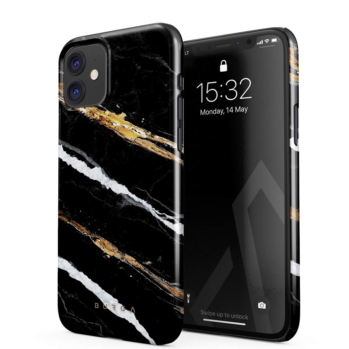 BURGA Phone Case Compatible with iPhone 11 - Golden Clues Black and Gold Onyx Stone Marble Cute Case for Girls Thin Design Durable Hard Shell Plastic Protective Case