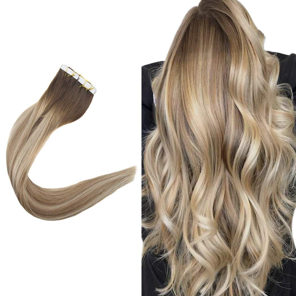 Easyouth 14inch Brazilian Hair Tape in Hair Extensions Balayage Color 3 Fading to 8 Highlighted with 22 80 Gram 40 Pieces Double Sided Tape on Hair Extensions Adhesive Skin Weft