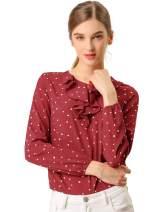 Allegra K Women's Ruffle Neck Long Sleeve Vintage Polka Dots Tunics Blouse Shirt