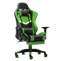 IKON MOTORSPORTS Video Gaming Chair Swivel Recliner Racing Office Computer Chair High Back Ergonomic Executive Reclining Chair with Headrest, Footrest, Lumbar Support, Black Green